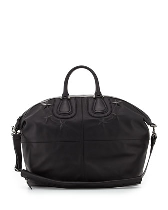 Men's Star-Debossed Nightingale Satchel Bag, Black