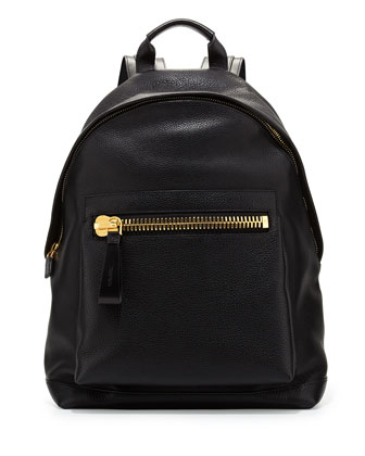 Men's Leather Wide-Zip Backpack, Black