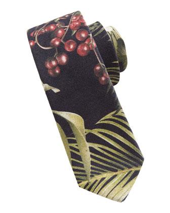 Floral-Print Skinny Tie