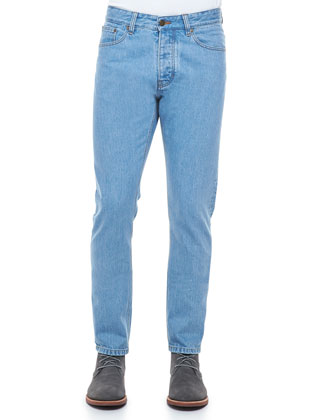 Slim-Fit Washed Denim Jeans, Blue