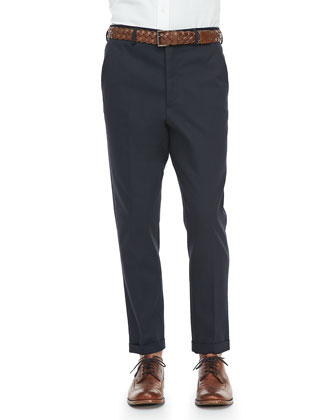 Cotton Drill Tapered Pants, Navy