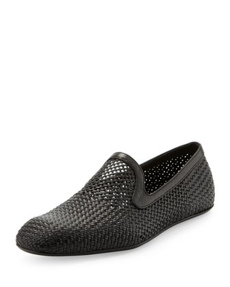Tadizio Open-Weave Leather Slipper, Black