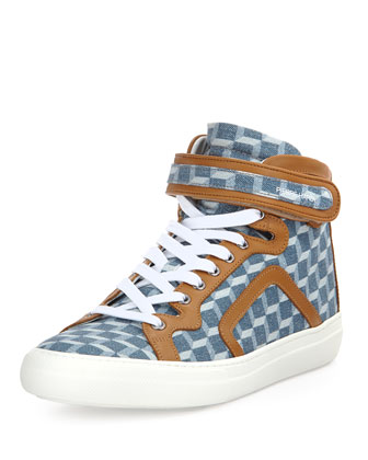 Cube-Print Denim High-Top, Blue