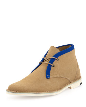 Contrast-Trim Chukka Boot, Tan/Blue