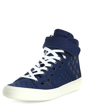 Men's Perforated Leather High-Top Sneaker, Blue
