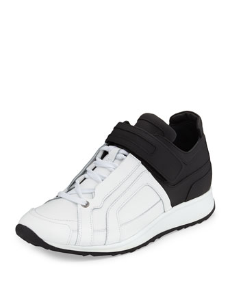 Colorblocked Low-Top Sneaker, Black/White