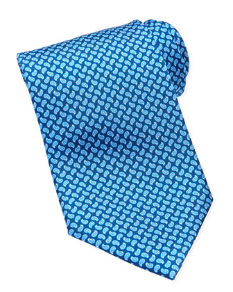 Mini-Paisley Printed Tie, Blue