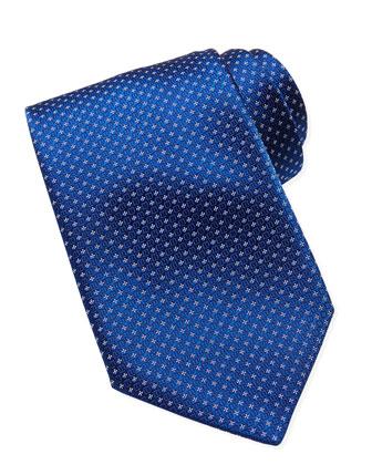 Woven Floral-Neat Pattern Tie, Blue