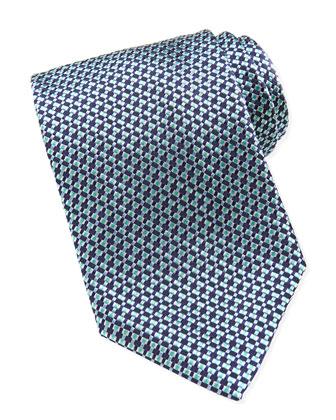 Woven-Pattern Silk Tie, Blue/Green