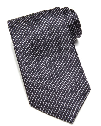 Mini-Diamond-Print Silk Tie, Black