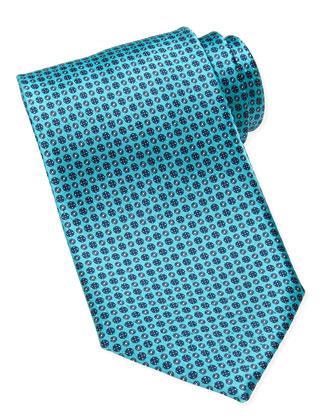 Floral-Medallion Neat Silk Tie, Aqua