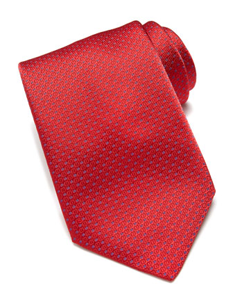 Textured Neat Silk Tie, Red