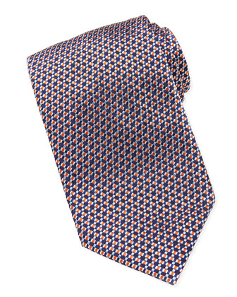 Woven-Pattern Silk Tie, Blue/Orange