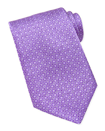 Circle-Print Textured Tie, Purple