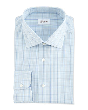 Woven Plaid Dress Shirt, Blue