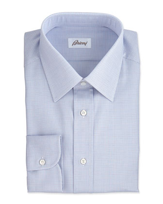 Micro-Check Dress Shirt, Blue/Brown