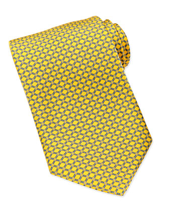 Rope-Print Silk Tie, Yellow