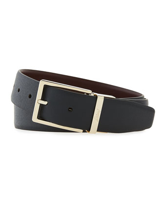 Reversible Leather Belt, Navy/Burgundy