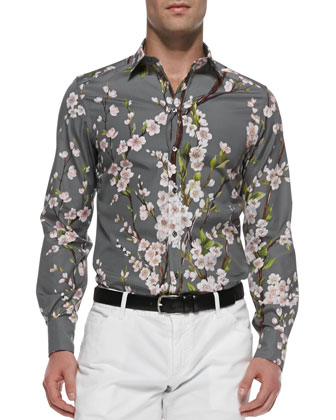 Peach-Blossom-Print Shirt, Gray