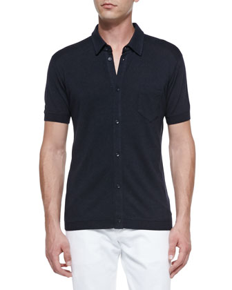 Silk Button-Front Polo Shirt