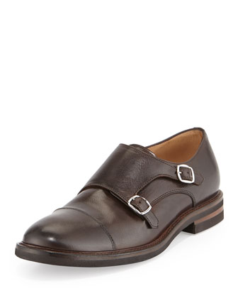 Leather Monk-Strap Loafer, Brown
