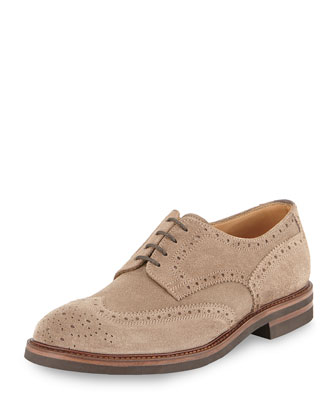 Suede Lace-Up Wing-tip