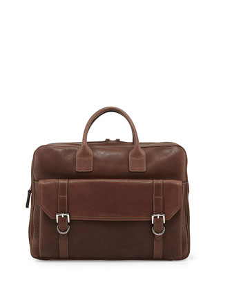 Double-Zip Leather Briefcase, Brown
