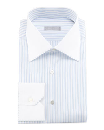 Striped Contrast-Collar Dress Shirt, Blue