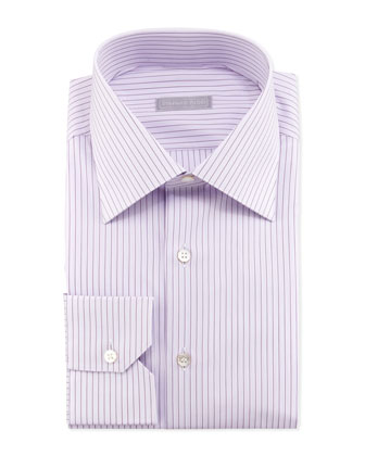 Wide-Pinstripe Dress Shirt, Purple