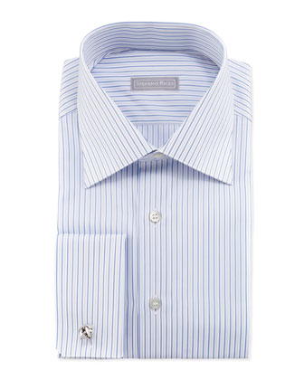 Thin-Stripe French-Cuff Dress Shirt, Blue