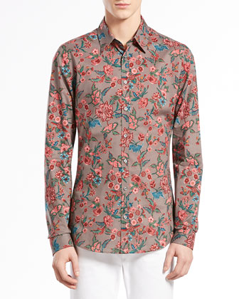 Multi Floral-Print Long-Sleeve Shirt