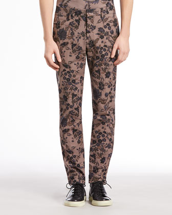 Floral-Print Riding Pants, Gray/Navy