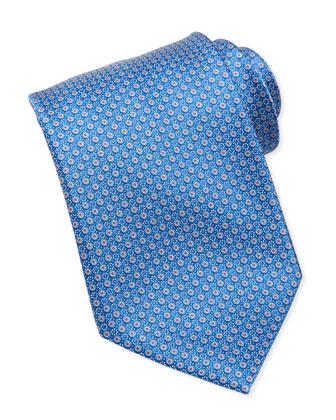 Micro-Floral Medallion Silk Tie, Blue