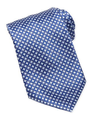 Micro-Medallion Silk Tie, Blue
