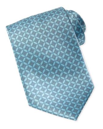 Micro-Floral Medallion Silk Tie, Teal