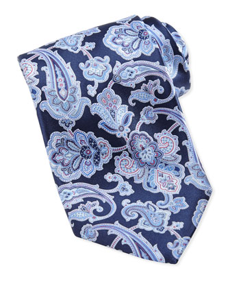 Paisley Silk Tie, Navy/Pink
