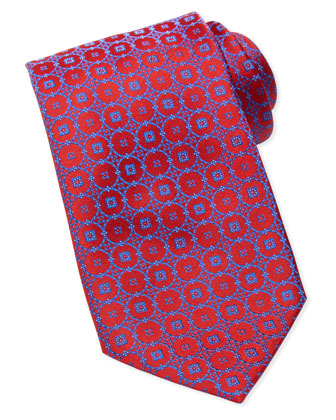 Med-Circle-Medallion Silk Tie, Red/Blue