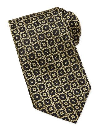 Circle-Medallion Silk Tie, Black/Gold
