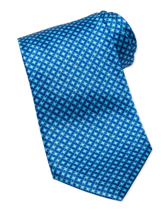 Micro Square Silk Tie, Blue
