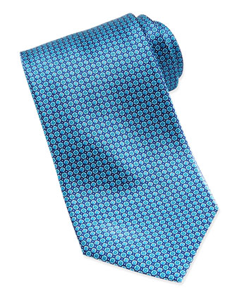 Micro-Flower Silk Tie, Blue