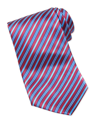 Rope Striped Silk Tie, Red/Blue