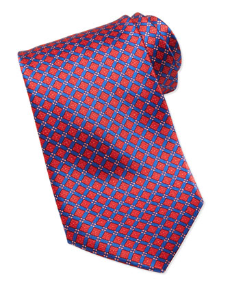 Square Micro-Flower Silk Tie, Red