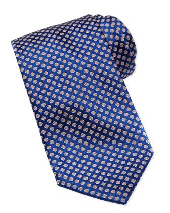 Medallion Silk Tie, Yellow/Blue