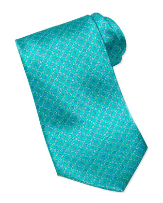 Square Medallion Silk Tie, Teal