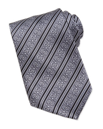 Filigree-Stripe Silk Tie, Black/Silver