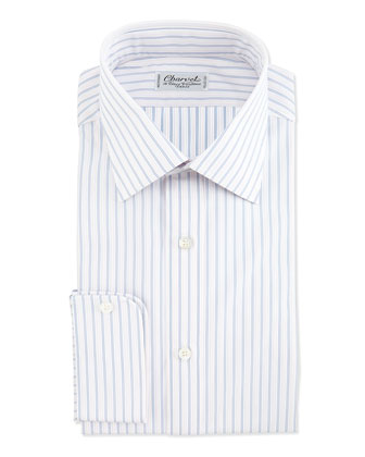 Striped Barrel-Cuff Dress Shirt, Blue/White
