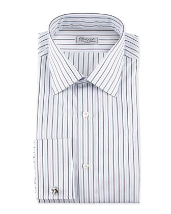 Striped French-Cuff Poplin Dress Shirt, Blue/White
