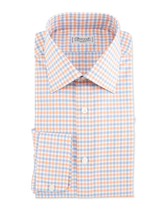 Plaid Barrel-Cuff Dress Shirt, Orange/Blue