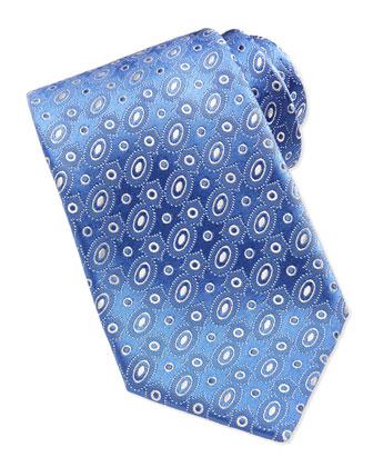 Oval-Pattern Tie, Blue-White