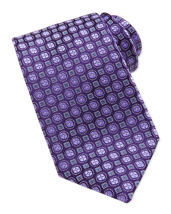 Circle & Square-Pattern Tie, Lavender